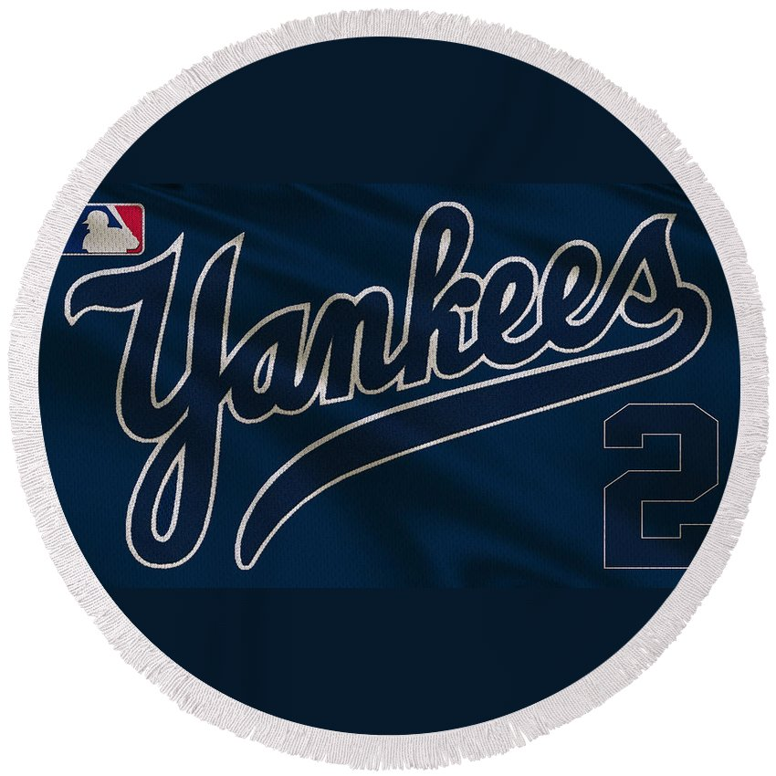 Yankees Round Beach Towel featuring the photograph New York Yankees Derek Jeter by Joe Hamilton