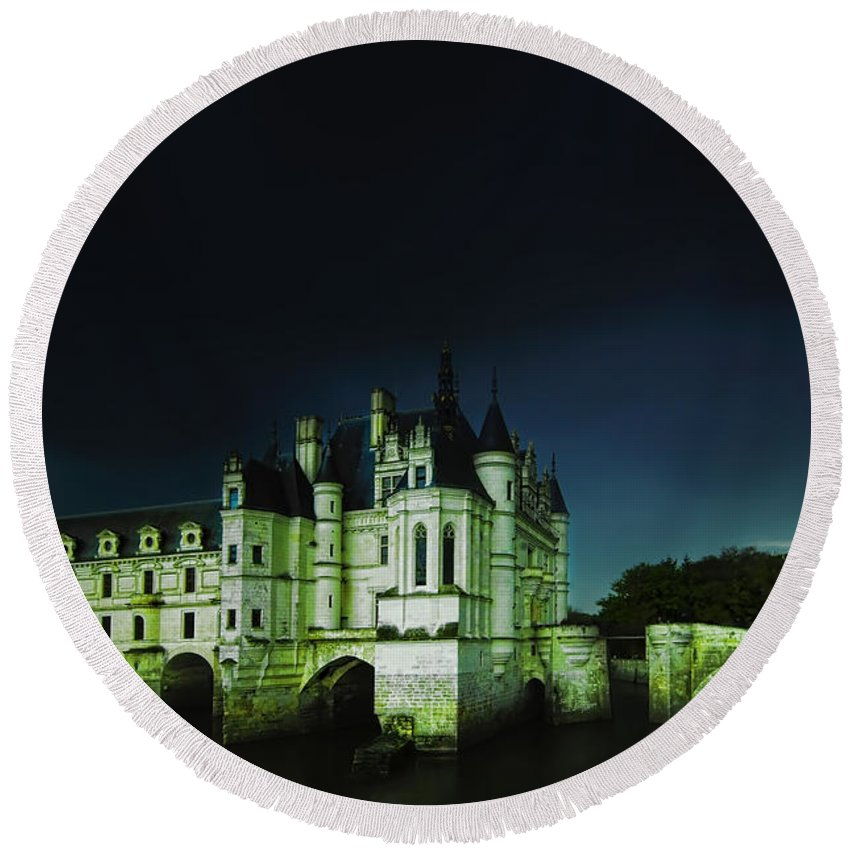 Castle Round Beach Towel featuring the photograph Night Lights by Midori Chan