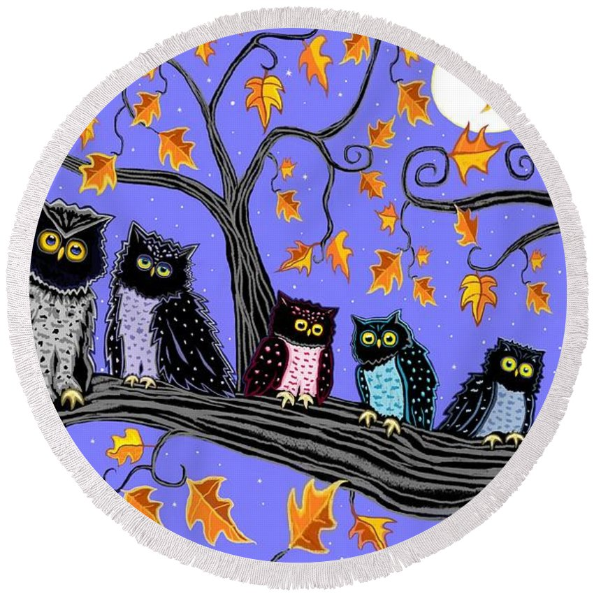 Owls Round Beach Towel featuring the painting Night Owls by Nick Gustafson