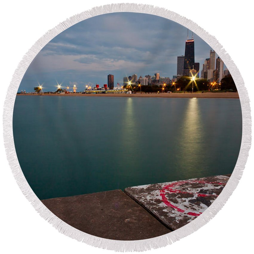 Chicago Round Beach Towel featuring the photograph No Diving by Anthony Doudt