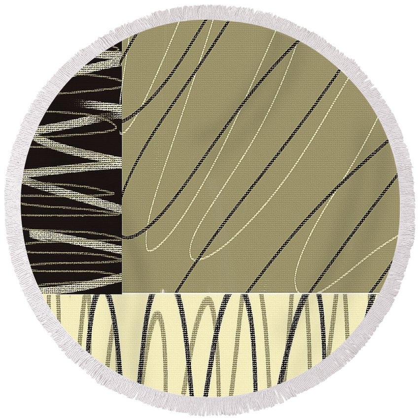 Taupe Round Beach Towel featuring the painting No Ending by Lourry Legarde