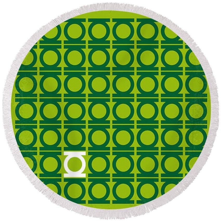 Green Round Beach Towel featuring the digital art No120 My Green Lantern Minimal Movie Poster by Chungkong Art