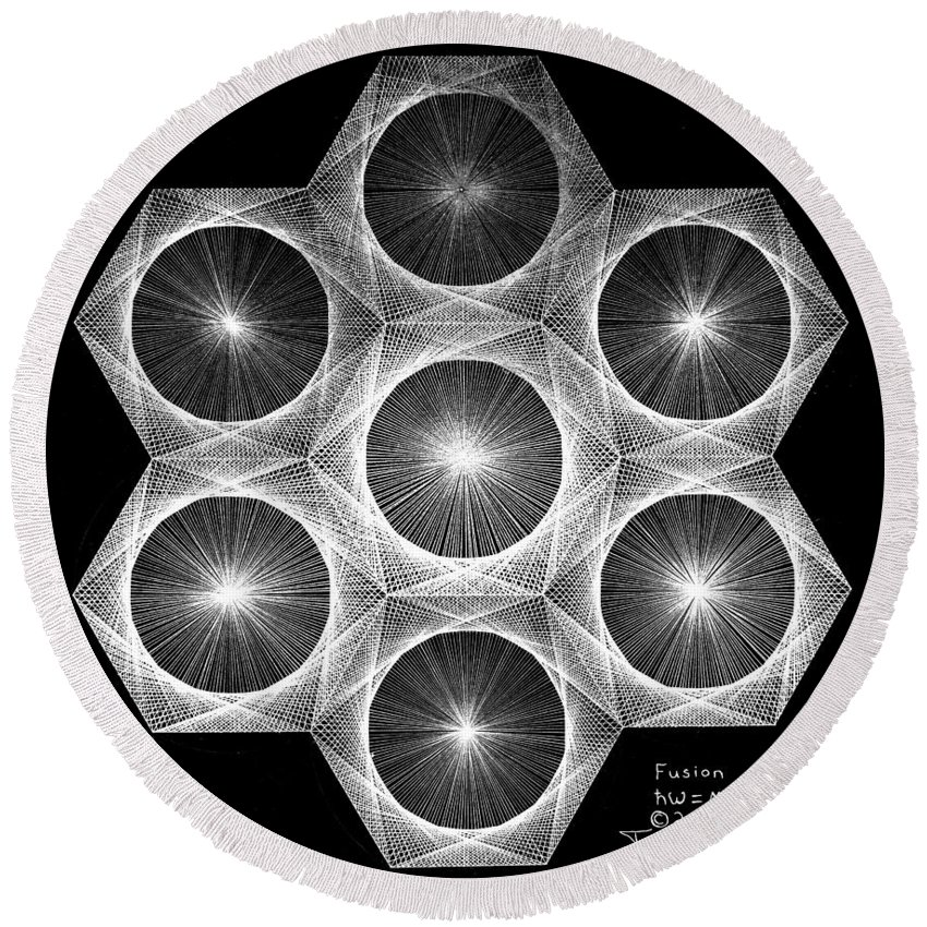 Fractal Round Beach Towel featuring the drawing Nuclear Fusion by Jason Padgett