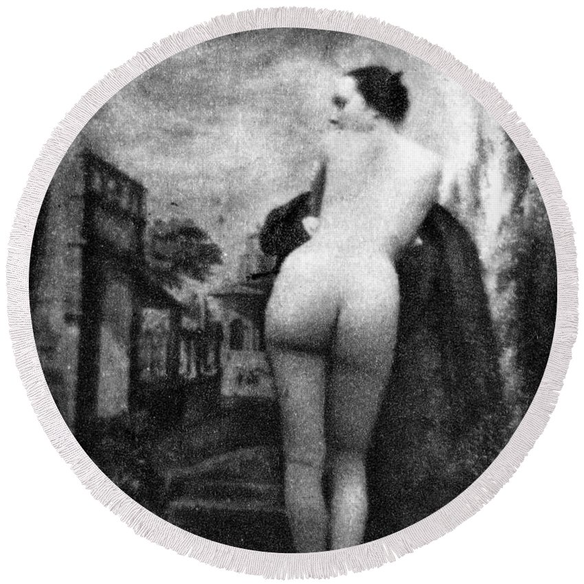 1843 Round Beach Towel featuring the photograph Nude Posing: Rear View by Granger