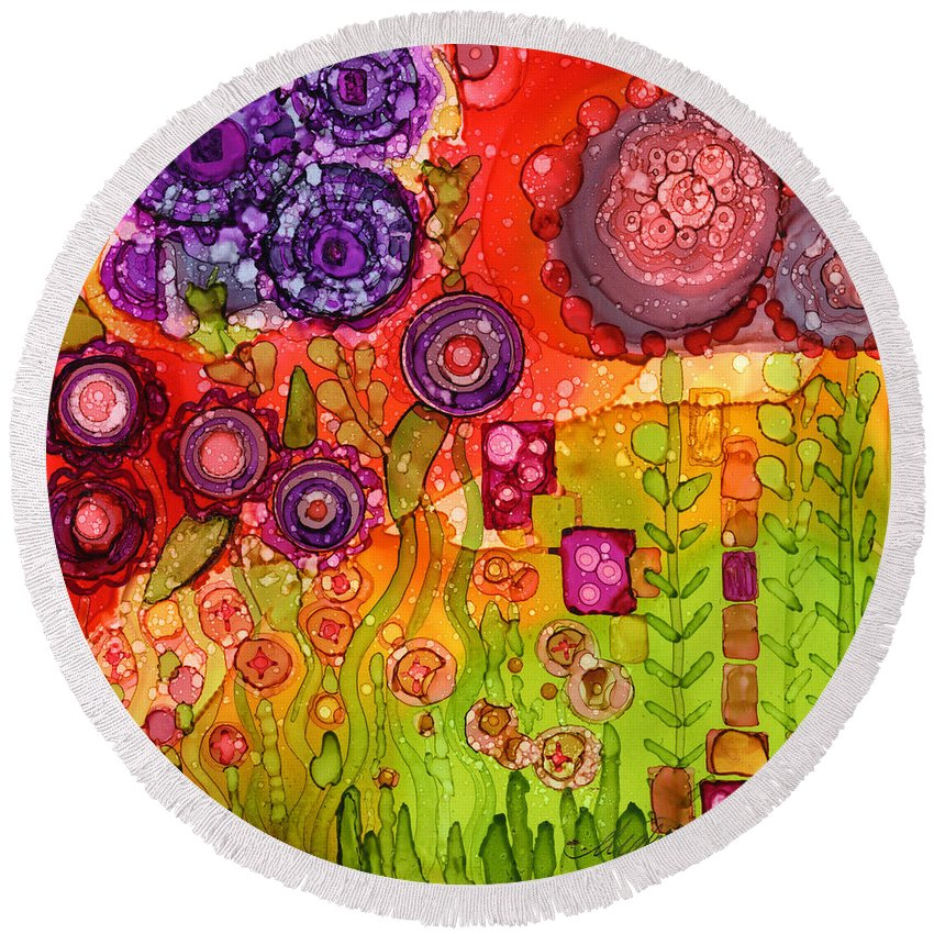 Abstract Round Beach Towel featuring the painting Number I by Vicki Baun Barry