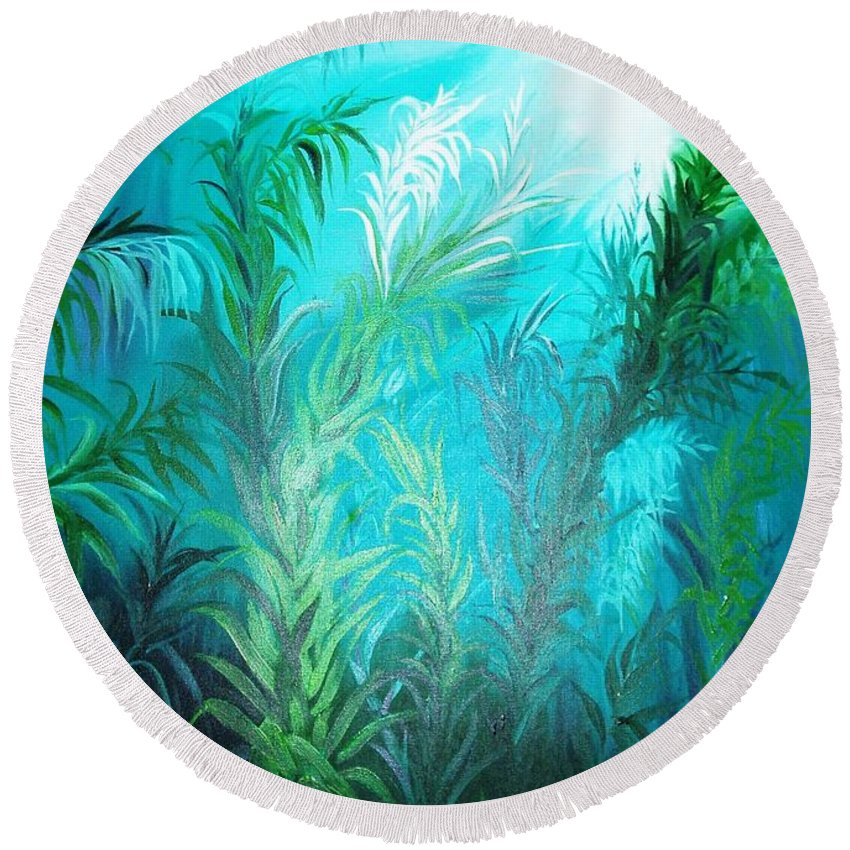 Ocean Round Beach Towel featuring the painting Ocean Plants by Rupa Prakash