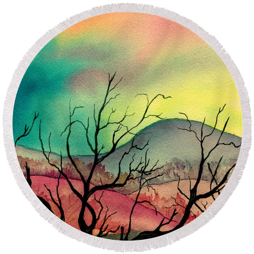 Landscape Round Beach Towel featuring the painting October Sky by Brenda Owen