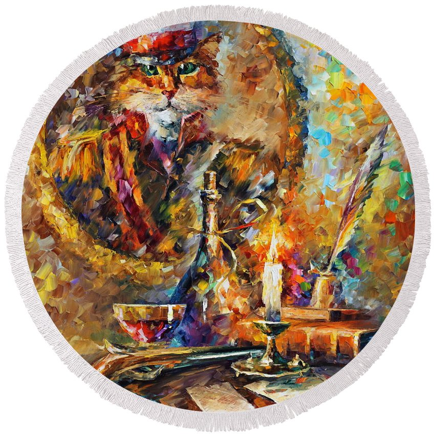 Afremov Round Beach Towel featuring the painting Old General by Leonid Afremov