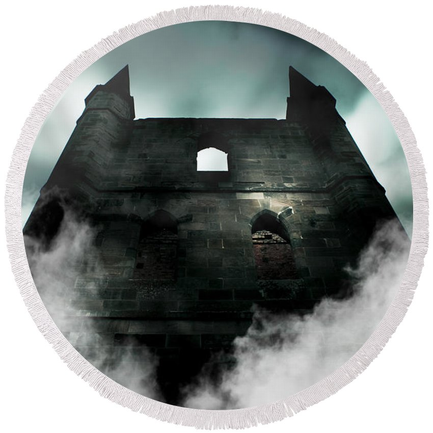 Aged Round Beach Towel featuring the photograph Old Haunted Castle by Jorgo Photography - Wall Art Gallery