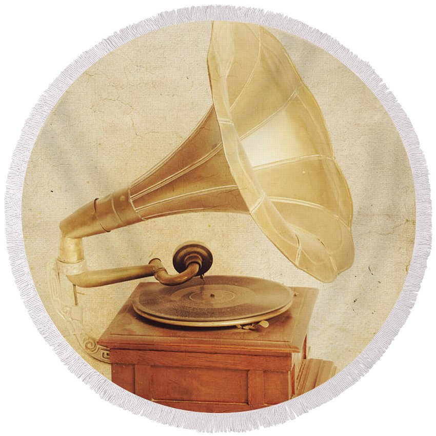 Classical Round Beach Towel featuring the photograph Old Vintage Gold Gramophone Photo. Classical Sound by Jorgo Photography - Wall Art Gallery