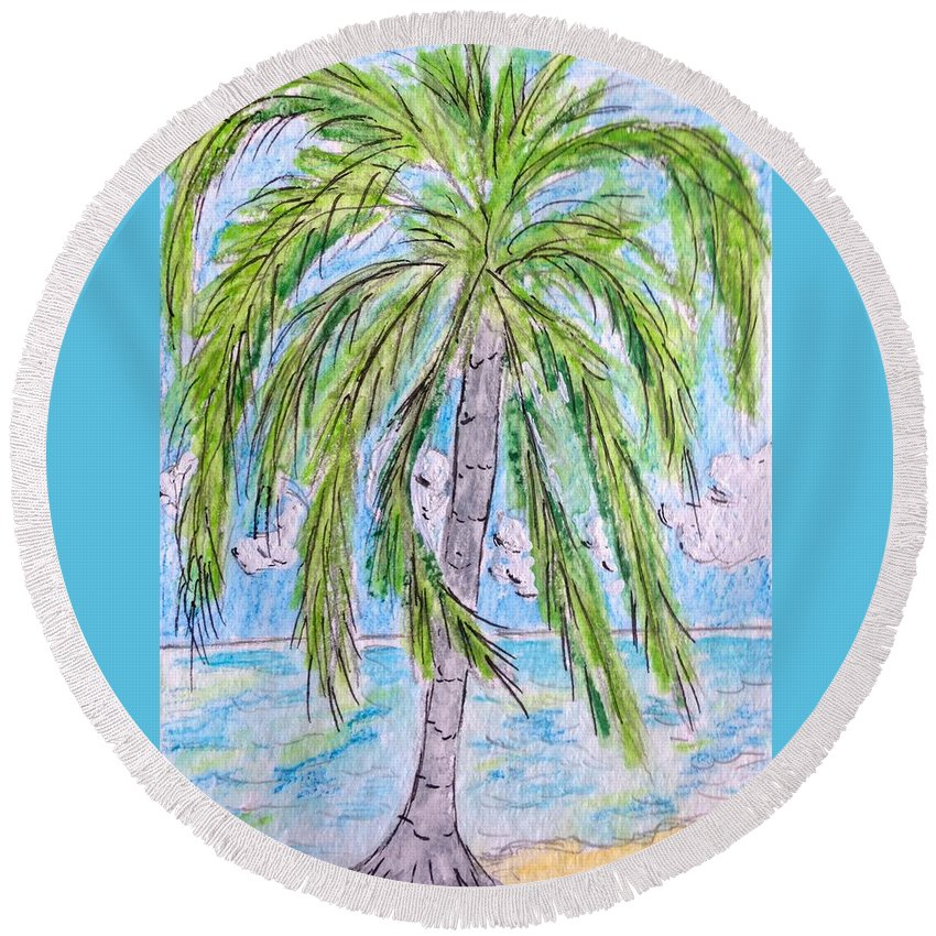 Beach Round Beach Towel featuring the painting On The Beach by Kathy Marrs Chandler