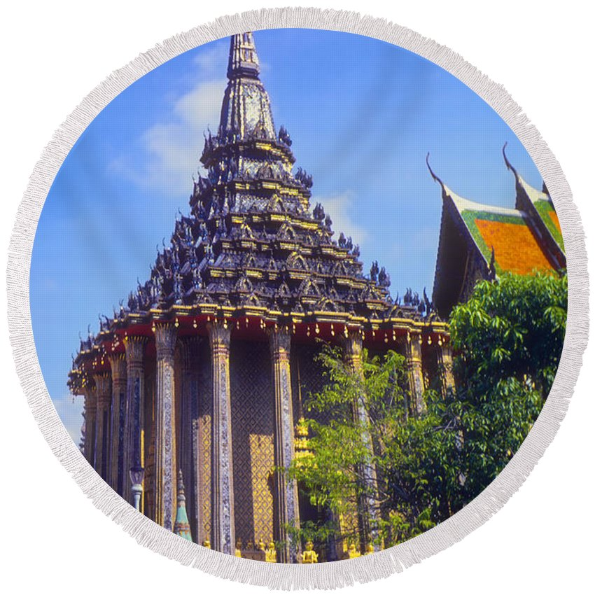 Temple Imperial Palace Bangkok Thailand Structure Structures Palaces Building Buildings Architecture City Cities Cityscape Cityscapes Ornate Temples Landmark Landmarks Place Places Of Worship Round Beach Towel featuring the photograph One Of Many by Bob Phillips