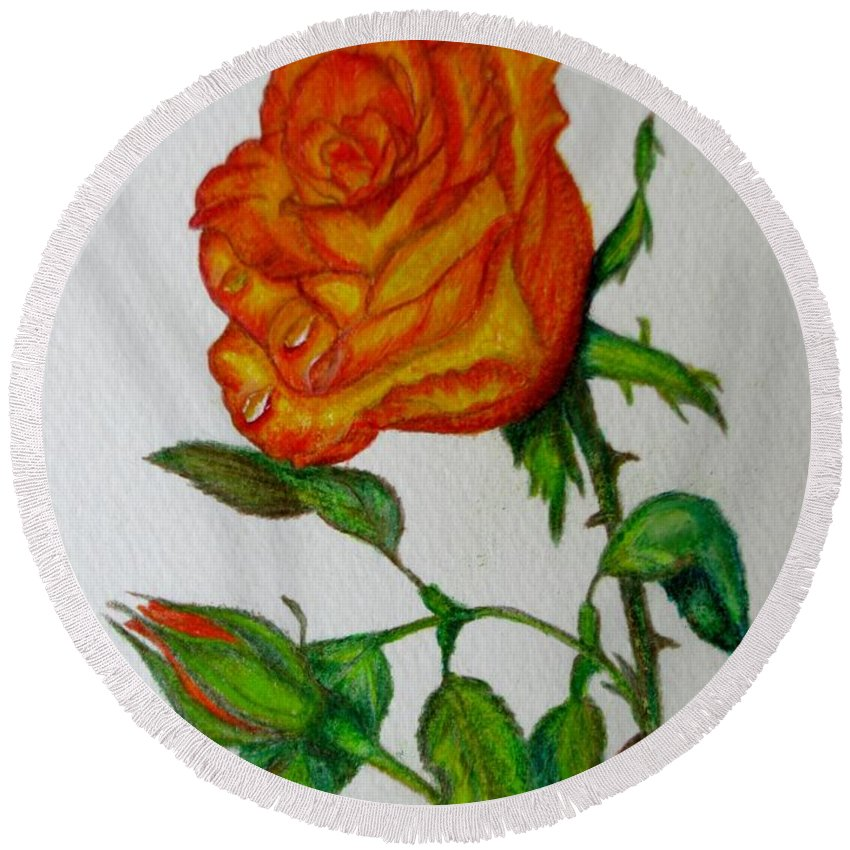 Roses Round Beach Towel featuring the drawing Orange Rose by Zina Stromberg
