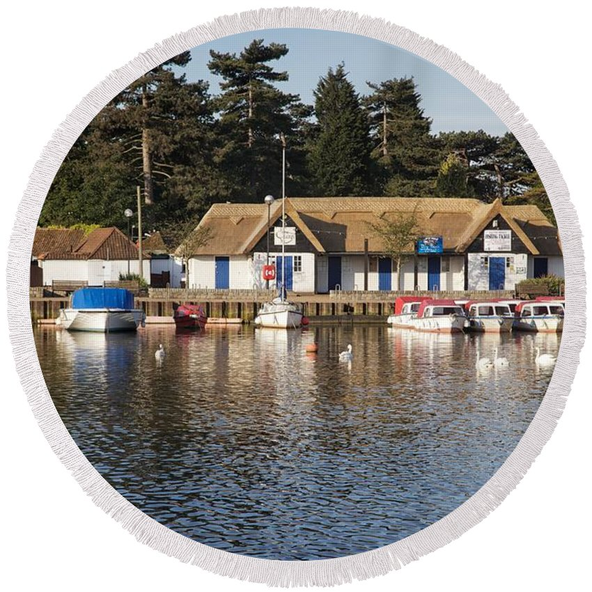 Oulton Broad Round Beach Towel featuring the photograph Oulton Broad by Ralph Muir