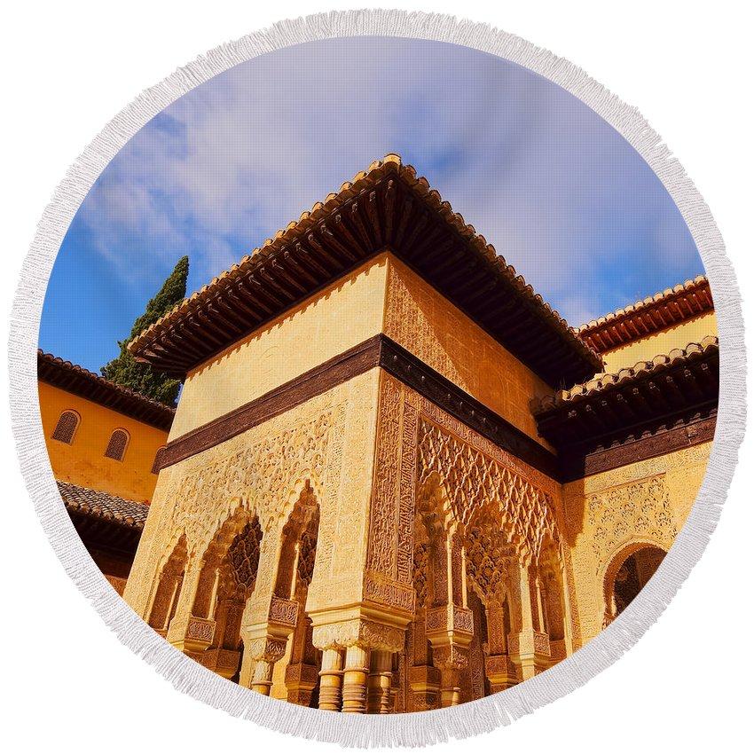 Alhambra Round Beach Towel featuring the photograph Palacios Nazaries In Granada by Karol Kozlowski
