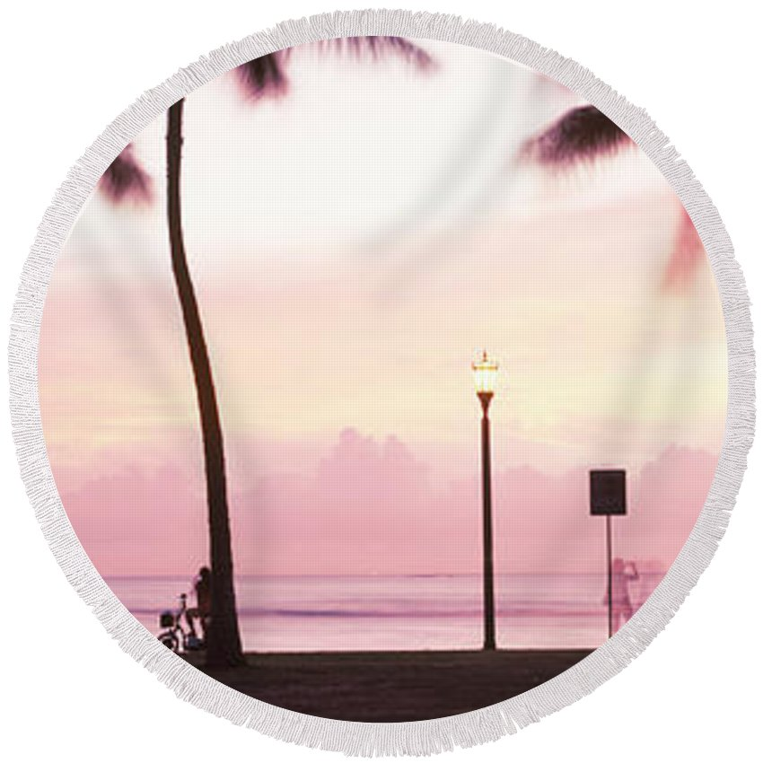 Photography Round Beach Towel featuring the photograph Palm Trees On The Beach, Waikiki by Panoramic Images
