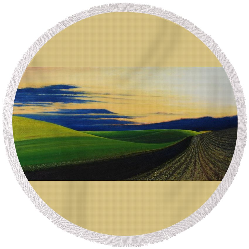 Landscape Round Beach Towel featuring the painting Palouse Drive by Leonard Heid