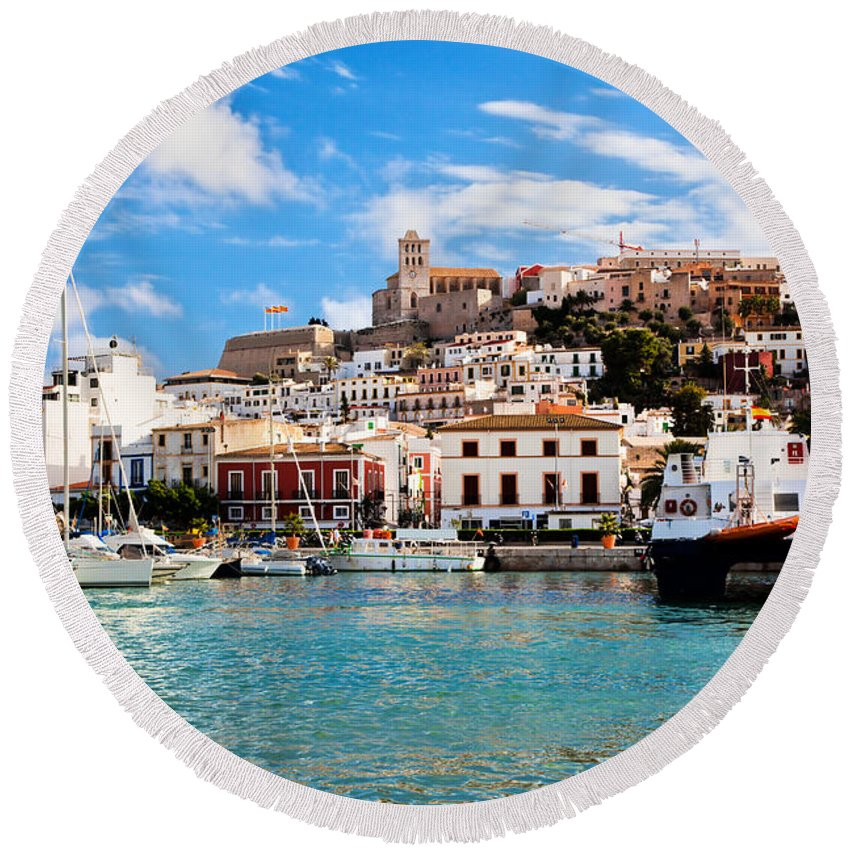 Ibiza Round Beach Towel featuring the photograph Panorama Of Ibiza Spain by Michal Bednarek