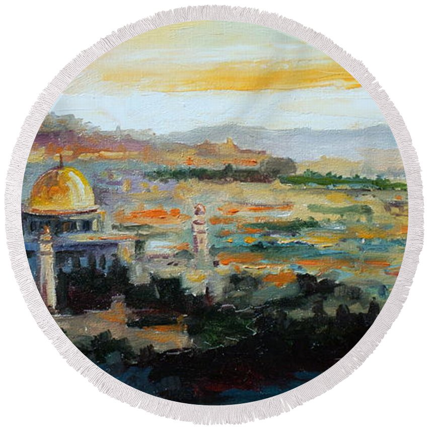 Jerusalem Round Beach Towel featuring the painting Panorama Of Jerusalem by Luke Karcz