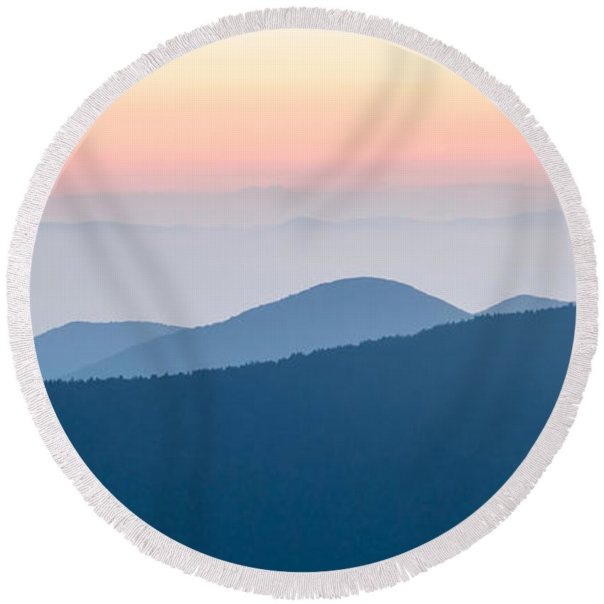 Mountain Round Beach Towel featuring the photograph Panorama Of Mountain Ridges Silhouettes by Alex Grichenko