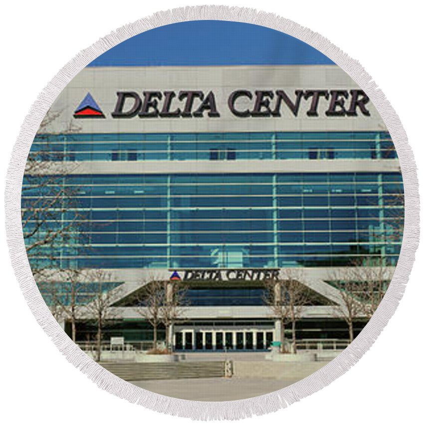 Photography Round Beach Towel featuring the photograph Panoramic Of Delta Center Building by Panoramic Images