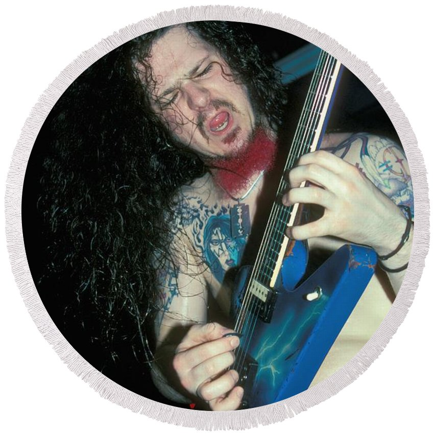 Darrell Round Beach Towel featuring the photograph Pantera - Dimebag Darrell by Concert Photos