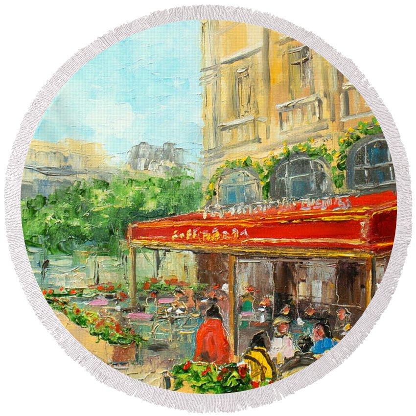 Paris Round Beach Towel featuring the painting Paris Cafe by Luke Karcz