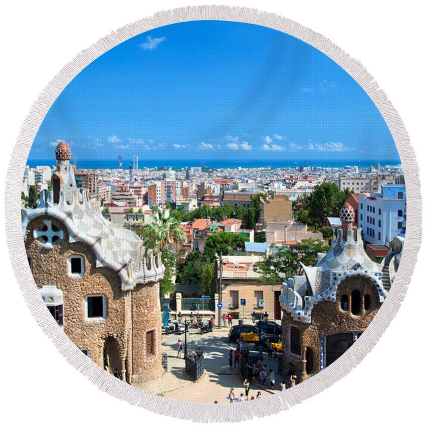 Guell Round Beach Towel featuring the photograph Park Guell In Barcelona by Michal Bednarek