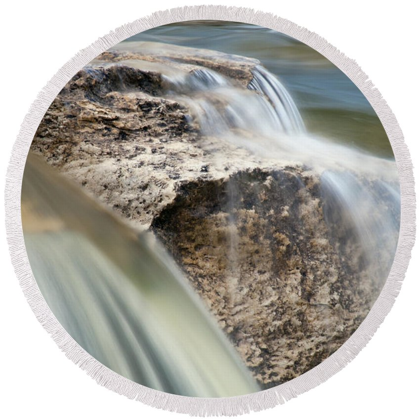 Mckinney Falls State Park Texas Park River Rivers Stream Streams Water Waterfall Waterfalls Rock Rocks Waterscape Waterscapes Round Beach Towel featuring the photograph Passing Through The Rock by Bob Phillips