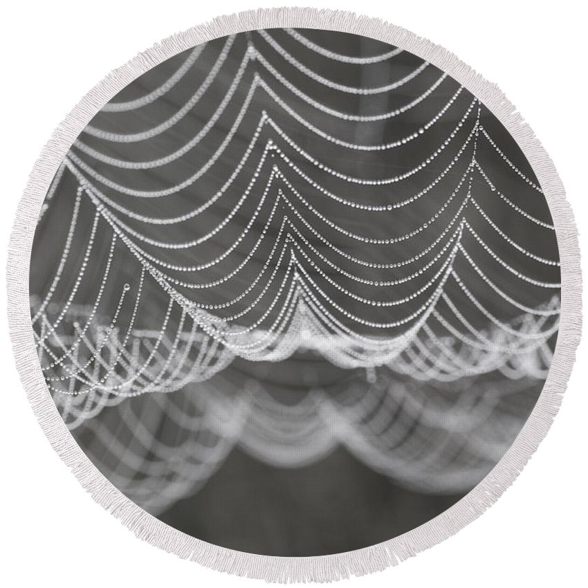 B&w Round Beach Towel featuring the photograph Pearls by Brothers Beerens