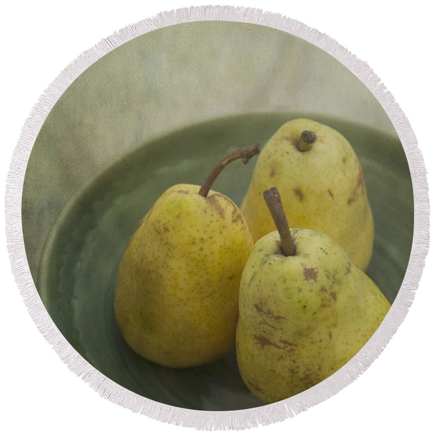 Food Round Beach Towel featuring the photograph Pears by Priska Wettstein