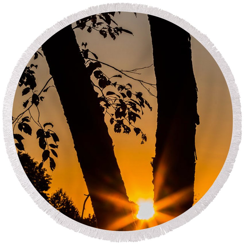 Autumn Round Beach Towel featuring the photograph Peeking Sun by Gaurav Singh