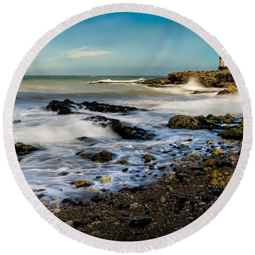 Lighthouse Round Beach Towel featuring the photograph Penmon Lighthouse by Adrian Evans