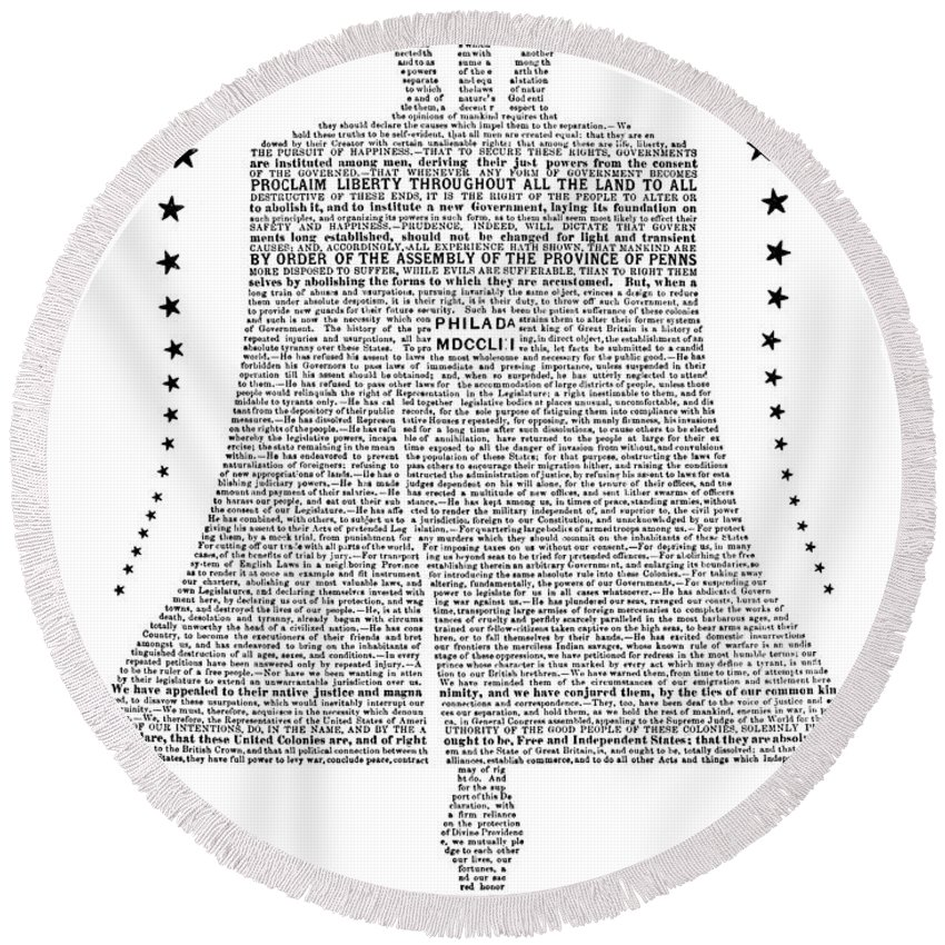 1877 Round Beach Towel featuring the photograph Philadelphia: Liberty Bell by Granger