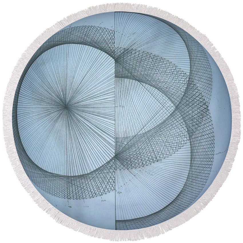 Photon Round Beach Towel featuring the drawing Photon Double Slit Test by Jason Padgett