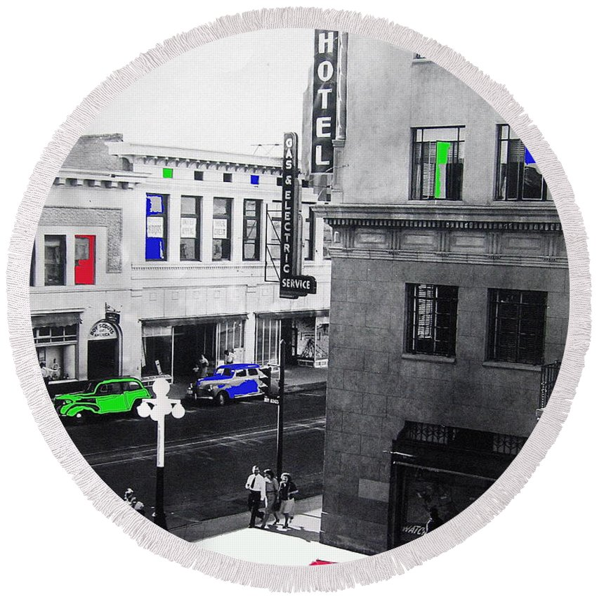 Pioneer Hotel World War 2 Circa 1943 Tucson Arizona American Airlines  Office Color Added 2009 Round Beach Towel