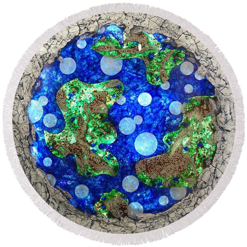 Planet Round Beach Towel featuring the mixed media Planet by Christopher Schranck