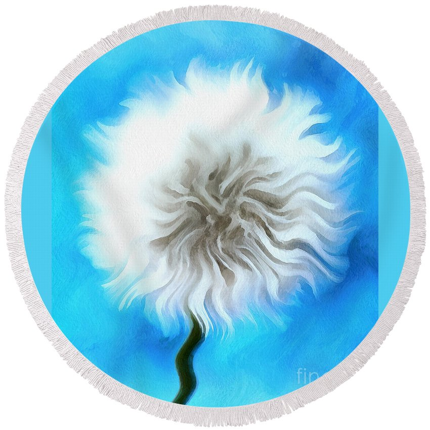 Dandelion Round Beach Towel featuring the photograph Playful Wish by Krissy Katsimbras