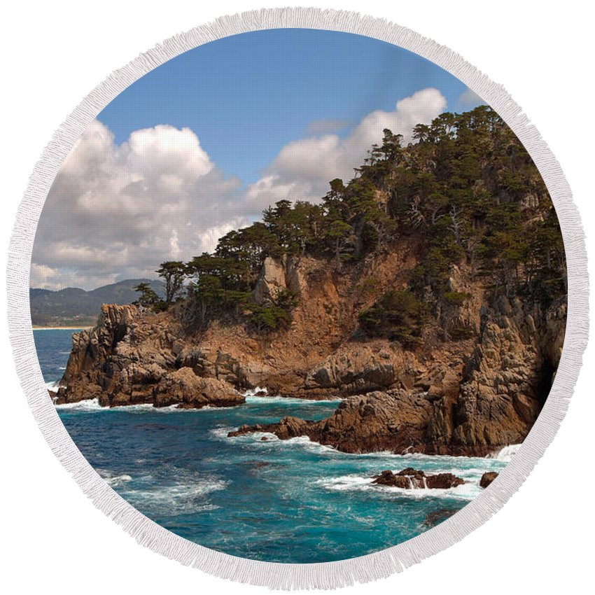 Point Lobos Round Beach Towel featuring the photograph Point Lobos by Charlene Mitchell