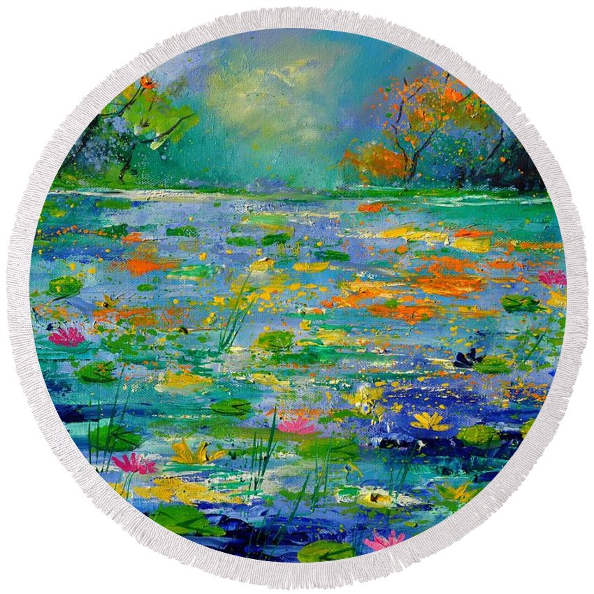 Landscape Round Beach Towel featuring the painting Pond 454190 by Pol Ledent