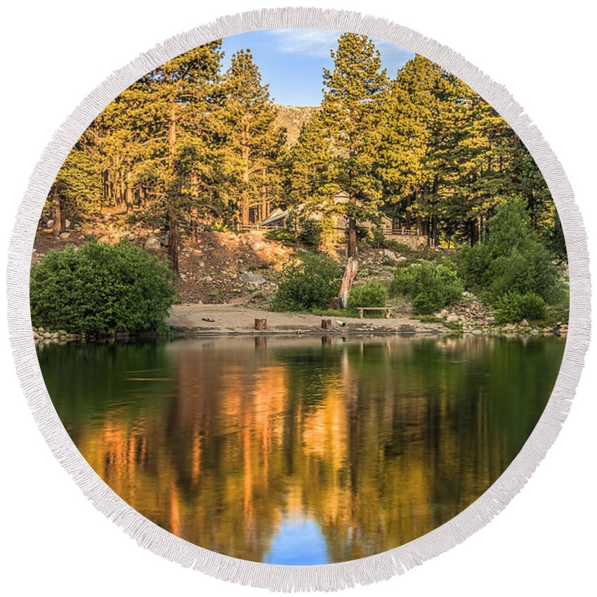 Landscape Round Beach Towel featuring the photograph Golden Pond by Maria Coulson