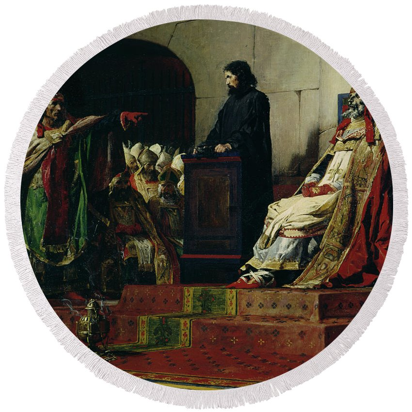 Pope Formosus Round Beach Towel featuring the painting Pope Formosus And Pope Stephen Vi by Jean Paul Laurens