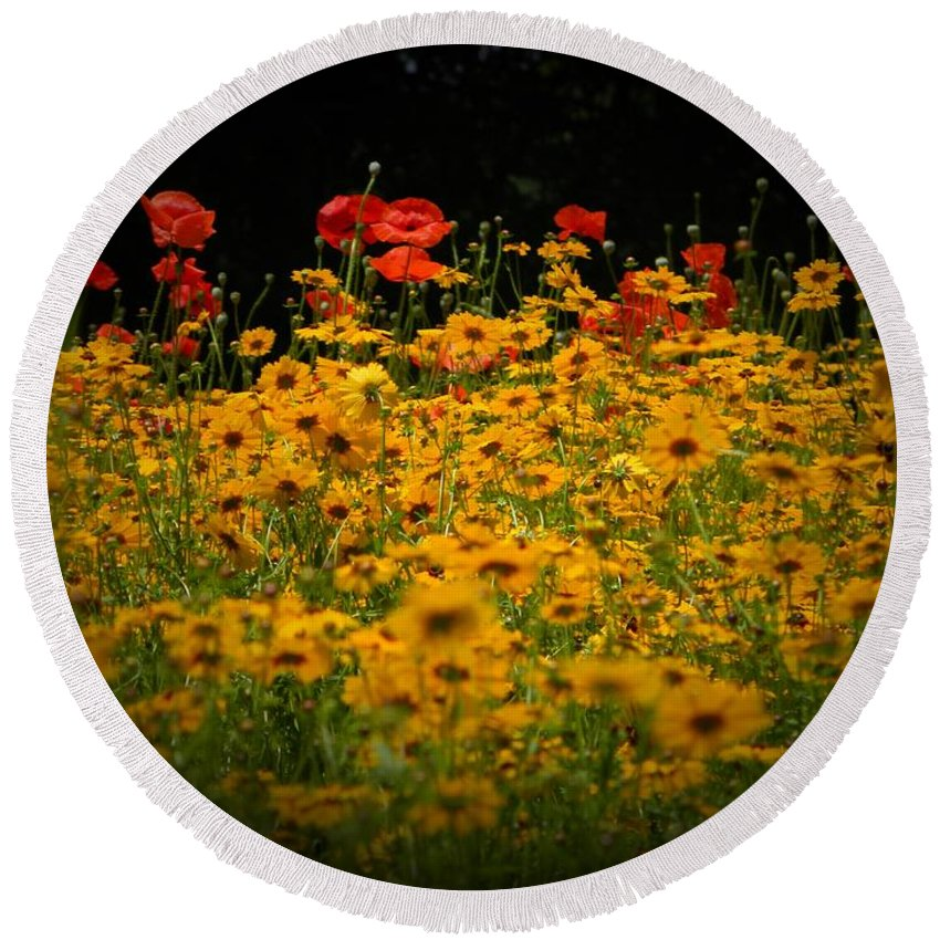 Flower Round Beach Towel featuring the photograph Poppies by Leslie Revels