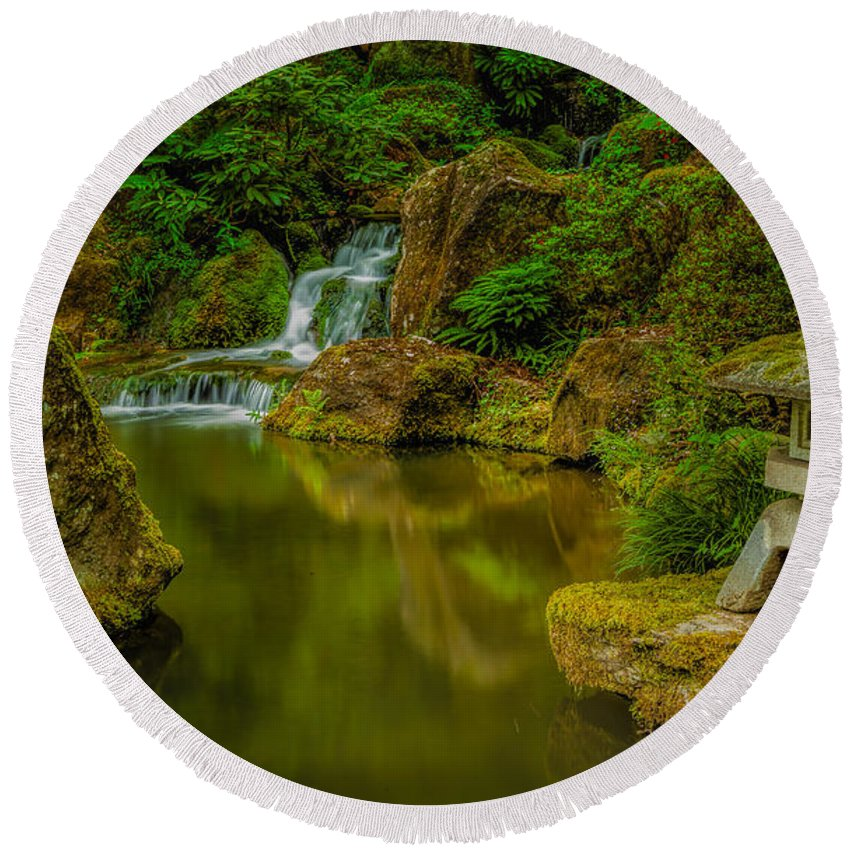 Japanese Gardens Round Beach Towel featuring the photograph Portland Japanese Gardens by Jacqui Boonstra