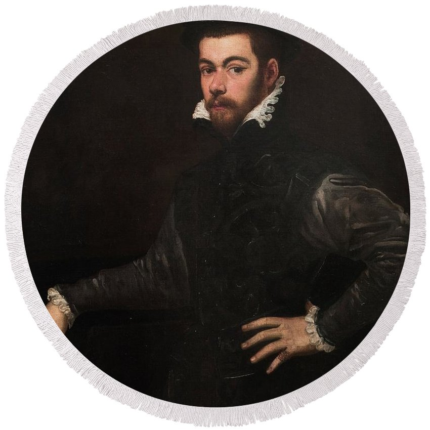 1554 Round Beach Towel featuring the painting Portrait Of A Gentleman by Tintoretto
