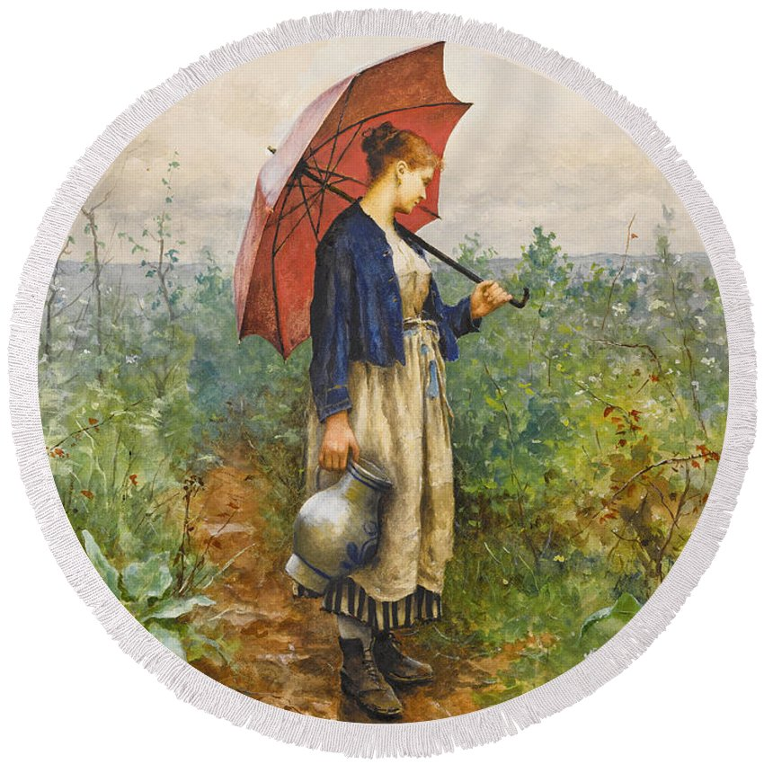 Daniel Ridgway Knight Round Beach Towel featuring the painting Portrait Of A Woman With Umbrella Gathering Water by Daniel Ridgway Knight