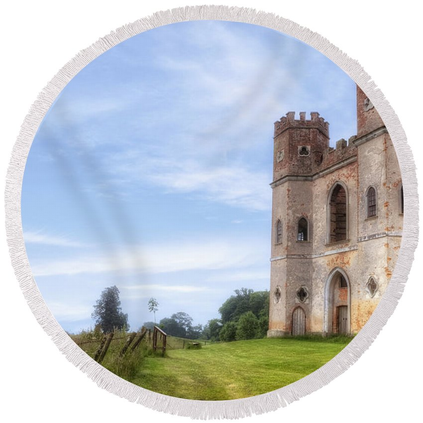 Powderham Castle Round Beach Towel featuring the photograph Powderham Castle by Joana Kruse