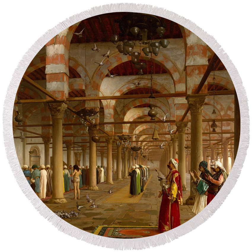 Jean-leon Gerome Round Beach Towel featuring the painting Prayer In The Mosque by Jean-Leon Gerome