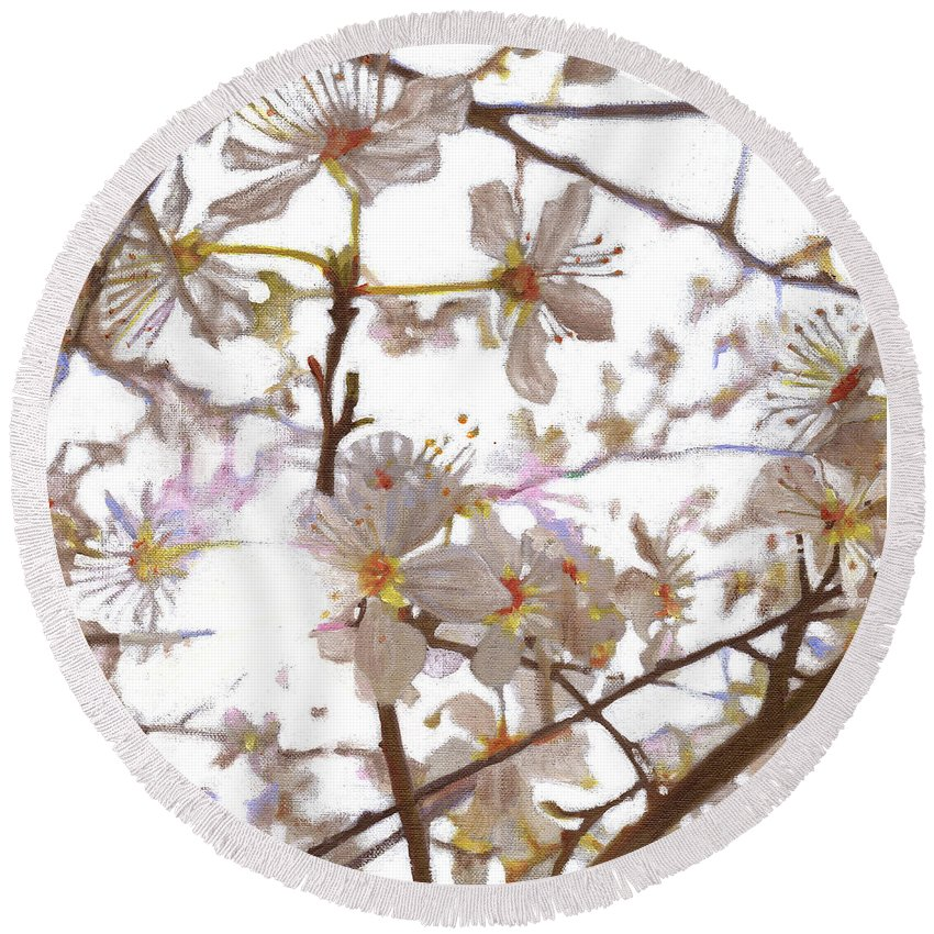 Floral Round Beach Towel featuring the painting Prelude by Helen White