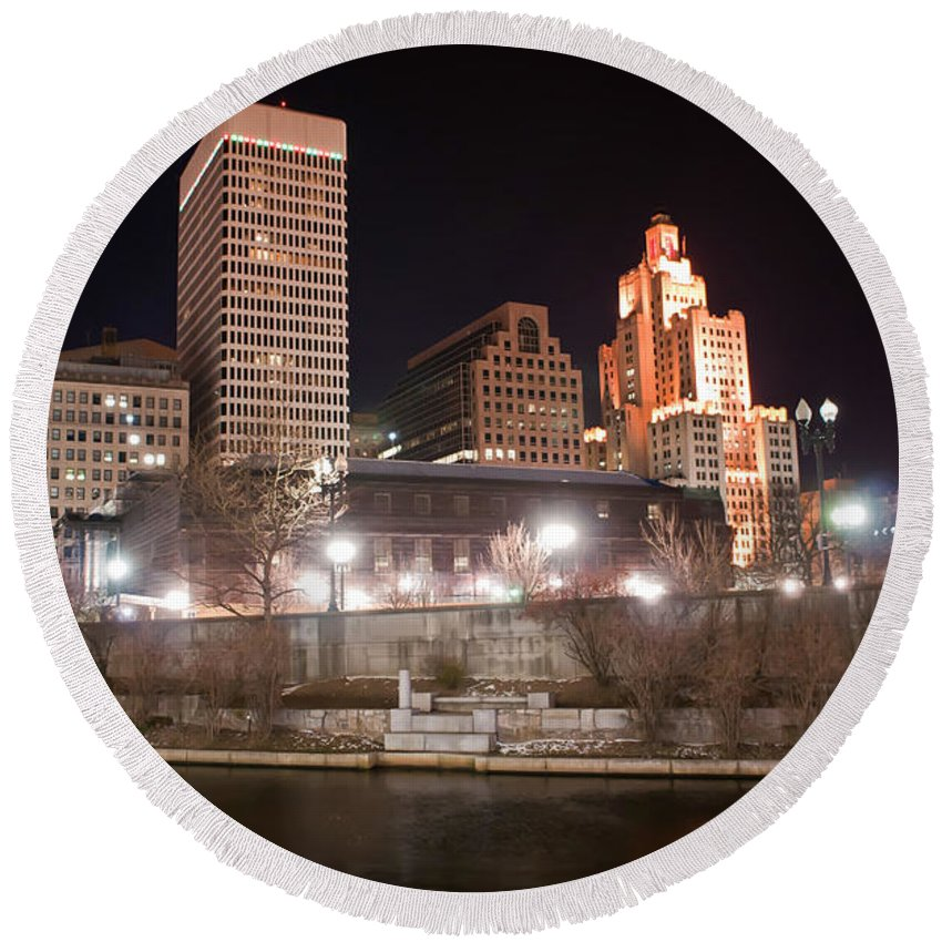 City Round Beach Towel featuring the photograph Providence Rhode Island Skyline At Night by Alex Grichenko